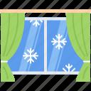 christmas, curtain, snow, snowflake, window, winter