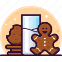 milk, gingerbread, sweets, cookies, drink, christmas