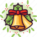 bells, bow, christmas, decoration, jingle, leaf