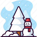 snowman, seasonal, tree, snow, christmas, pine, winter