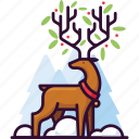 reindeer, leaf, animal, deer, forest, nature, christmas icon