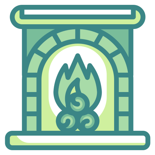 fire, fireplace, furniture, home, living, room, winter icon