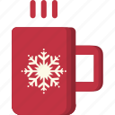 chocolate, christmas, cup, hot, mug, snowflake, xmas icon