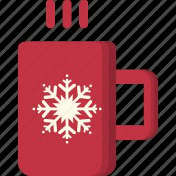 chocolate, christmas, cup, hot, mug, snowflake, xmas icon