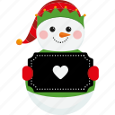 christmas, character, snowman, heart, cute, sign, xmas