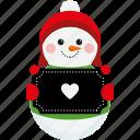 character, christmas, cute, heart, sign, snowman, xmas