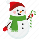 candy cane, character, christmas, cute, scarf, snowman, xmas icon