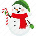candy cane, character, christmas, cute, scarf, snowman, xmas
