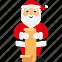 character, christmas, cute, gift list, santa, santa claus, xmas icon