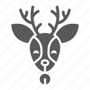 christmas, deer, head, moose, reindeer, rudolph icon