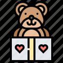 animal, bear, box, christmas, gift