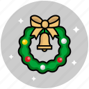 adornment, bow, christmas, decoration, new year, ornament, wreath icon