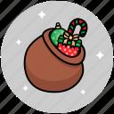 christmas, christmas gift bag, santa bag, santa gift bag icon