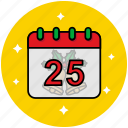 25 december, calendar, christmas, christmas day, holiday icon