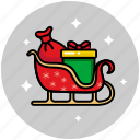 christmas, sled, sledge, sleigh, snow, transport, xmas icon