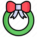 wreath, decoration, christmas, celebration, flowers, bow, ribbon