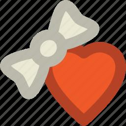 bow, gift box, heart, valentine gift, valentine present icon