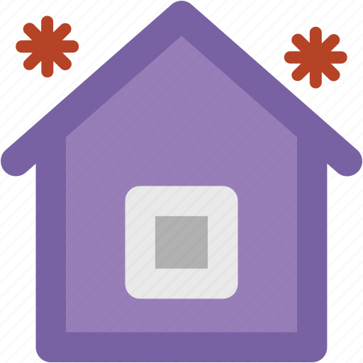bungalow, home, house, hut, shack, snow falling, villa icon