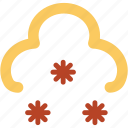 cloud, ice crystals, ice flakes, snow falling, snowflakes, winter ornaments, winter season icon