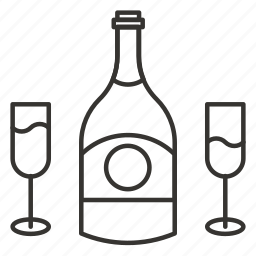 alcohol, bottle, champagne, drink, glasses, wine icon