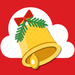 alarm, bell, bow, christmas, decoration, holiday, jingle icon