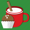 christmas, cinnamon, cup, dessert, food, milk, sweet icon