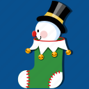 christmas, decoration, holiday, snowman, stocking, tradition, xmas icon