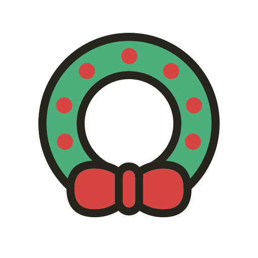 christmas, holidays, wreath icon