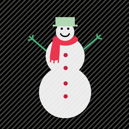 christmas, cold, color, fun, snow, snowman, winter icon