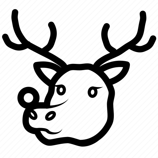 christmas, deer, raindeer, rudolph icon