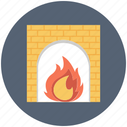 cozy, fire, flame, place icon icon
