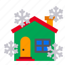 christmas, house, snow, snowfall, snowflame, winter, xmas icon