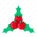 cherry, christmas, decoration, leaf, mistletoe, wreath, xmas icon