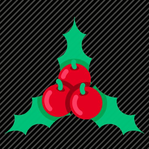 cherry, christmas, decoration, leaf, mistletoe, wreath, xmas icon