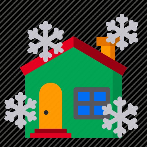 christmas, house, snow, snowfall, snowflame, winter, xmas icon