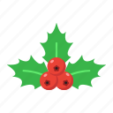 berries, christmas, holiday, holly, new year, xmas icon