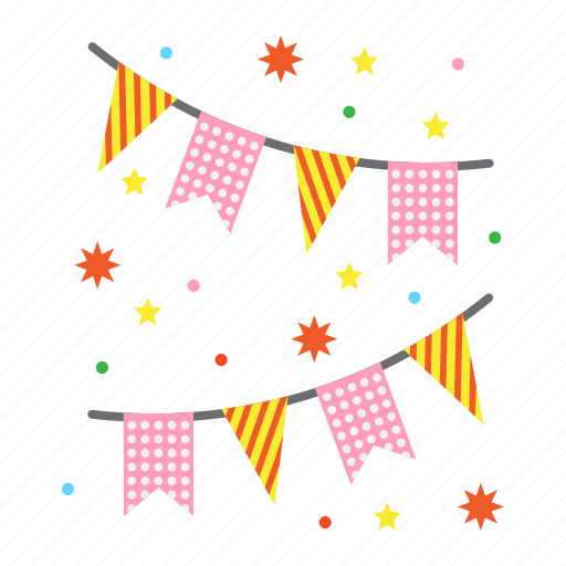 christmas, flags, garlands, holiday, new year, xmas icon