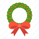 bow, christmas, holiday, new year, wreath, xmas icon