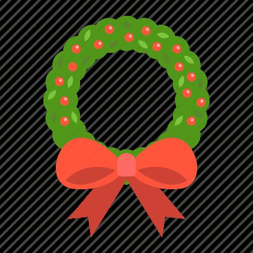 bow, christmas, holiday, new year, wreath, xmas icon