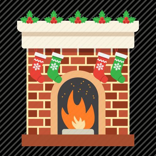 christmas, decoration, fireplace, new year, winter, xmas icon