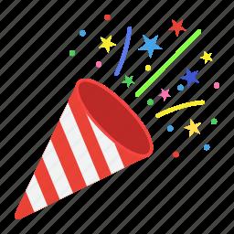 christmas, confetti, holiday, new year, popper, xmas icon