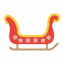 christmas, holiday, new year, santa, sled, sleigh icon
