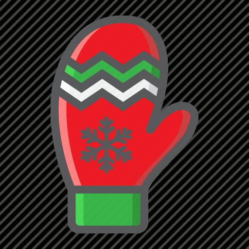 christmas, glove, mitten, new year, winter, xmas icon