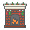 christmas, decoration, fireplace, new year, winter, xmas icon