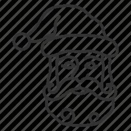 beard, christmas, christmas hubcap, hat, santa, santa claus, xmas icon