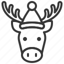 animal, christmas, hat, moose, xmas icon