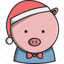 animal, christmas, cute, farm, pig icon