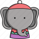 animal, christmas, cute, elephant, jungle icon