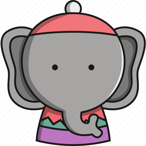 animal, christmas, cute, elephant, jungle icon