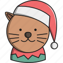 animal, cat, christmas, cute, hat, pet icon